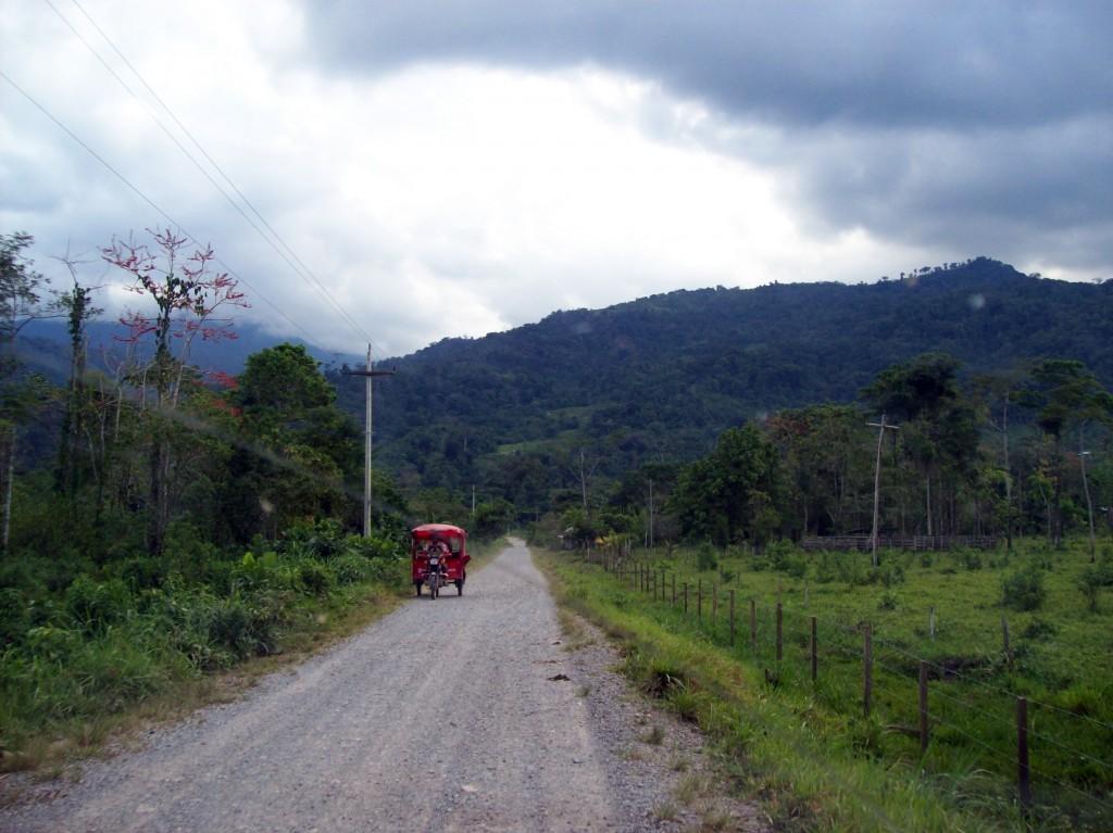 A la izquierda el Sistema Eléctrico Rural 33/19kV usado en la selva de Pozuzo. A la derecha se puede observar una vieja línea de 10 ó 13,2kV en desuso.